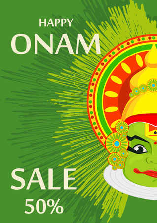 Kathakali face with heavy crown for festival of Onam celebration. Colorful vector illustration on beautiful green background.