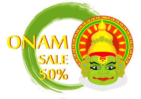 sravanmahotsav: Kathakali face with heavy crown for festival of Onam celebration. Colorful vector illustration on abstract background for sale Illustration