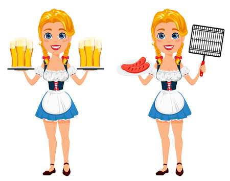 bavarian girl: Oktoberfest vector illustration with sexy redhead girl holding six pints of beer and standing with grilles sausages and bbq grid. Can be used for poster, invitation, banner.