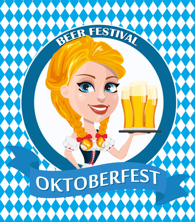 Oktoberfest design with redhead girl holding three pints of beer