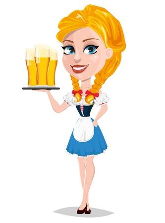 Oktoberfest illustration with redhead girl holding tray with three glasses of beer. Cartoon character standing half turned. Can be used for poster, invitation, banner.