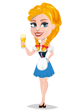 bavarian girl: Oktoberfest illustration with redhead girl holding beer. Cartoon character standing half turned. Can be used for poster, invitation, banner. Illustration