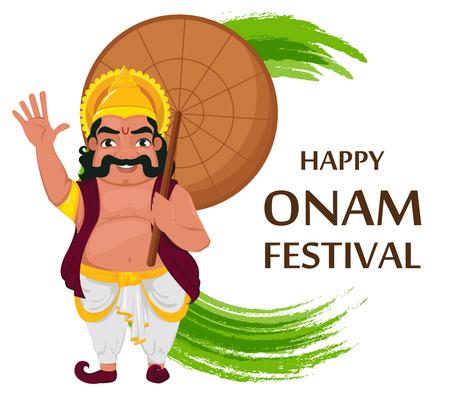 King Mahabali. Happy Onam festival in Kerala. illustration on white