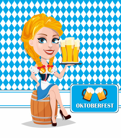 bavarian girl: Oktoberfest with redhead girl sitting on barrel and holding beer. Vector illustration on traditional . Cartoon character. Can be used for poster, invitation, banner.