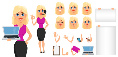 Business woman cartoon character creation set. Cute blonde businesswoman in smart casual clothes. Build your personal design - stock vector