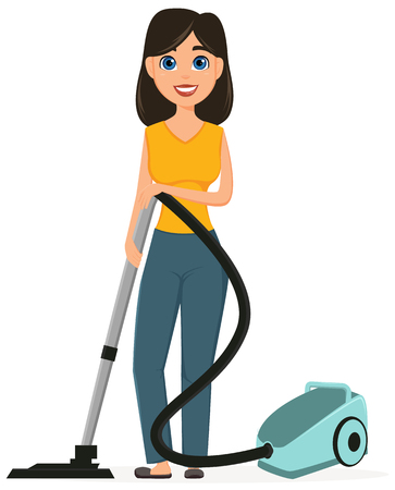 Housewife vacuuming home with a vacuum cleaner. Pretty woman doing domestic work. Cartoon character. Vector illustration