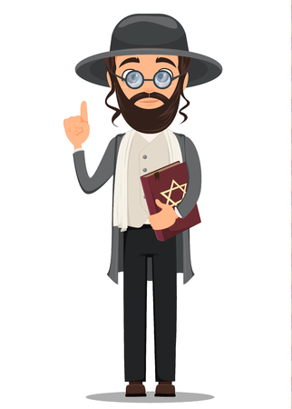 Rosh Hashanah. Jew man in traditional clothes holding bible. Cartoon character in glasses. Vector illustration. Illustration