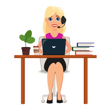 Bedrijfsvrouw die aan laptop bij haar bureau werkt. Mooi stripfiguur met hoofdtelefoon. Leuke stripfiguur. Moderne kleuren vectorillustratie.