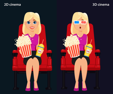 pop corn: Woman sitting in the cinema and watching a movie, 2D and 3D cinema. Colorful vector illustration, flat style
