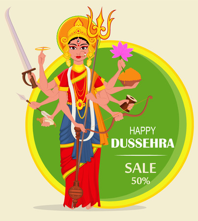 Happy Dussehra vector illustration for sale, shopping. Maa Durga on abstract green background for Hindu Festival. Illustration