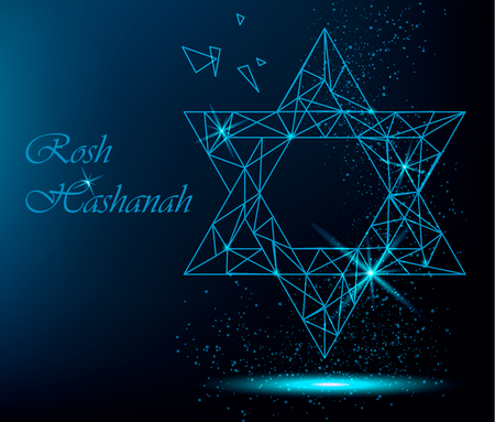 Rosh Hashanah greeting card with yellow polygonal Star of David and golden dots. Vector bright illustration for Jewish New Year on blue bright background