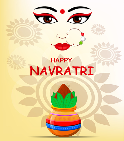 Happy Navratri vector illustration. Contour of Maa Durga Face and pot with coconut on abstract background for Hindu Festival. Illustration