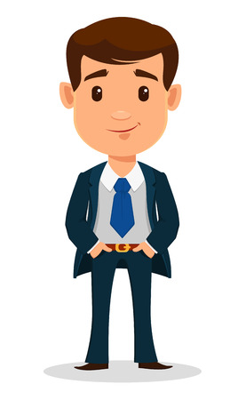 Business man cartoon character in smart clothes, office style. Young handsome businessman in suit standing with hands in pockets. Vector illustration.