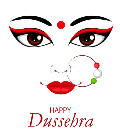 Happy Dussehra vector illustration. Contour of Maa Durga Face on white background for Hindu Festival.