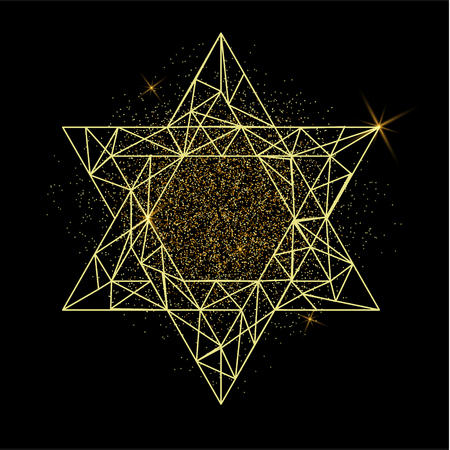 Rosh Hashanah greeting card with yellow polygonal Star of David and golden dots. Vector illustration for Jewish New Year on black background