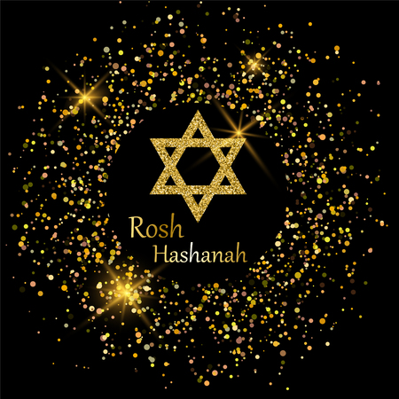 Rosh Hashanah greeting card with star of David made of golden sand and sparkling circle around. Vector illustration for Jewish New Year