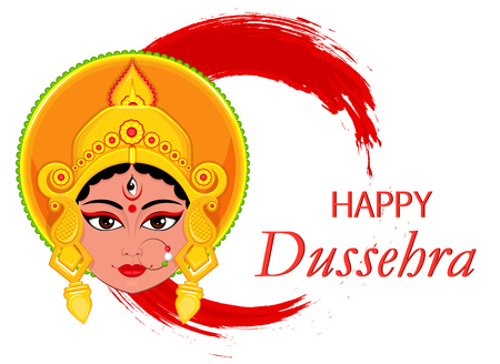 Happy Dussehra greeting card. Maa Durga Face on abstract background for Hindu Festival. Vector illustration Illustration