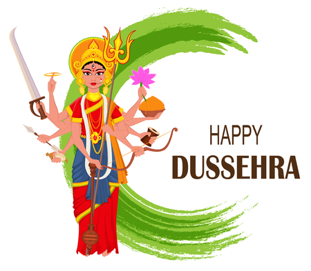 Happy Dussehra vector illustration. Maa Durga on abstract background for Hindu Festival.