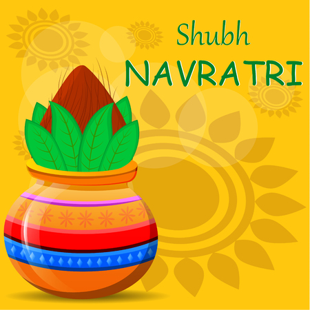 Happy Navratri greeting card. Pot with coconut on beautiful abstract background. Vector illustration for Hindu Festival. Illustration