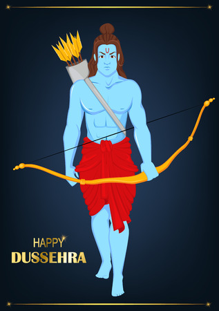 Lord Rama with bow and arrows for Dussehra Navratri festival of India. Vector illustration on beautiful blue background with golden stripes.