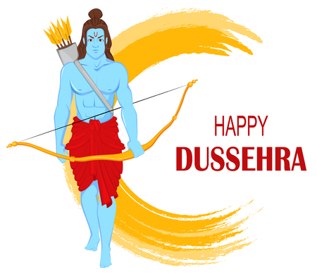 Lord Rama with bow and arrows for Dussehra Navratri festival of India. Vector illustration for holiday Illustration