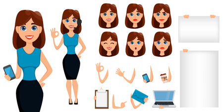 phone: Business woman cartoon character creation set. Cute brunette businesswoman in smart casual clothes, blue style. Build your personal design - stock vector Illustration