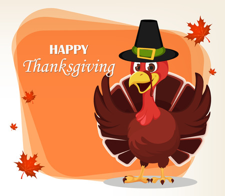 Thanksgiving greeting card with a turkey bird wearing a Pilgrim hat and waving its wings. Funny cartoon character for holiday. Vector illustration with maple leaves on background.
