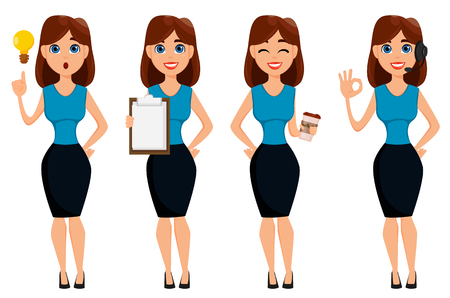 Business woman cartoon character. Cute brunette businesswoman set, 4 poses. Vector illustration on white background.