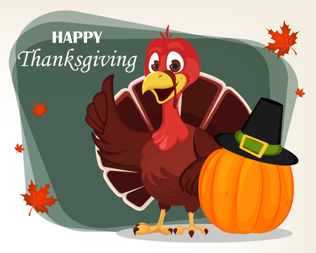 Thanksgiving greeting card with a turkey bird standing near pumpkin in a Pilgrim hat. Funny cartoon character for holiday. Vector illustration with maple leaves on background.