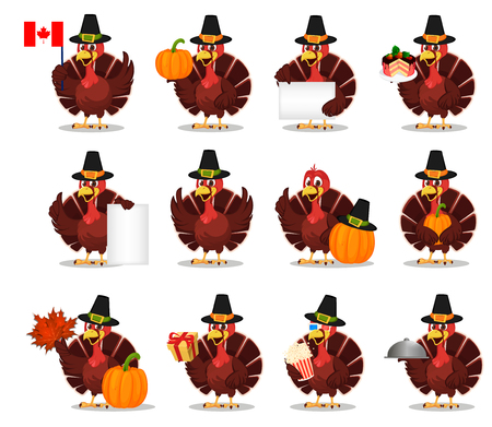 Thanksgiving turkey bird wearing a Pilgrim hat. Set with funny cartoon character for holiday. Vector illustration on white background Ilustracja