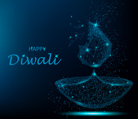 Happy diwali vector illustration. Deepavali light and fire festival. Polygonal art on blue background