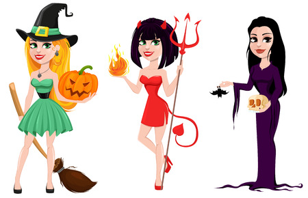 Halloween. Set of three girls for holiday, witches and devil girl. Cartoon characters. Vector illustration.