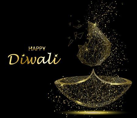 Happy Diwali greeting card. Deepavali light and fire festival. Gold colors, polygonal art on black background. Beautiful vector illustration. Ilustração