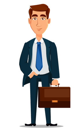 Business man in formal suit holding briefcase, cartoon character. Young handsome smiling businessman in office style clothes. Vector illustration