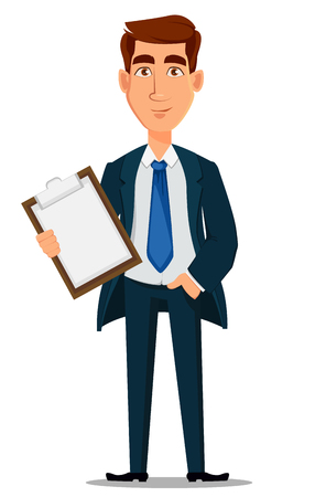 Business man in formal suit holding clipboard, cartoon character. Young handsome smiling businessman in office style clothes. Vector illustration