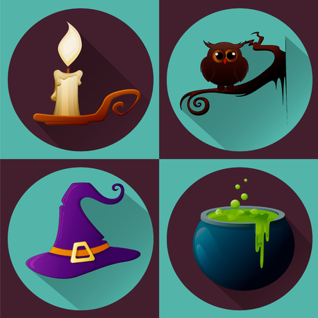 candle: Halloween set. Burning candle, owl sitting on branch, witch hat and pot of potion. Vector illustration for holiday