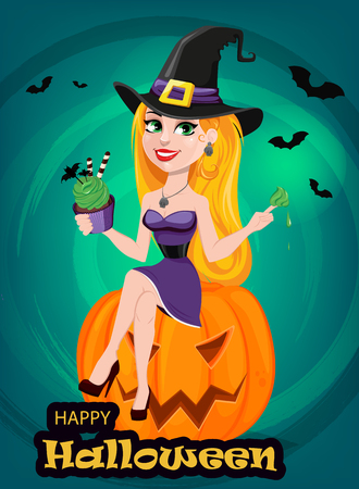Halloween greeting card. Beautiful lady witch wearing pilgrim hat sitting on pumpkin and eating cake. Cartoon character on bright background with bats. Vector stock Illustration