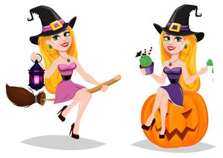 Halloween, cute cartoon character for holiday. Set with beautiful lady witch flying on broom and witch sitting on pumpkin. Stock vector illustration.