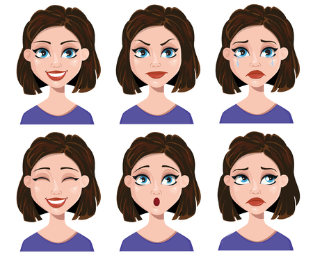 Facial expressions of a woman. Different female emotions set. Cute lady, cartoon character. Vector illustration on white background.