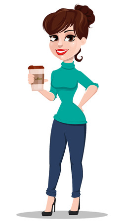 Young cartoon businesswoman. Beautiful lady holding cup of coffee. Business woman in casual clothes. Vector illustration Illustration
