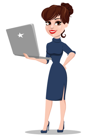 Young cartoon businesswoman. Beautiful lady holding laptop. Fashionable modern business woman. Vector illustration Illustration