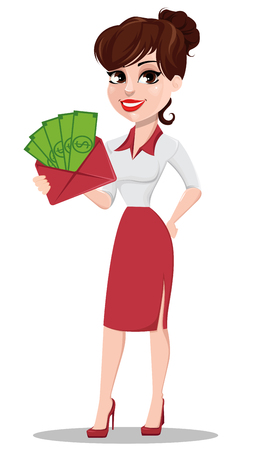 Young cartoon businesswoman in red and white clothes. Beautiful lady holding envelope full of money. Fashionable modern business woman. Vector illustration Illustration