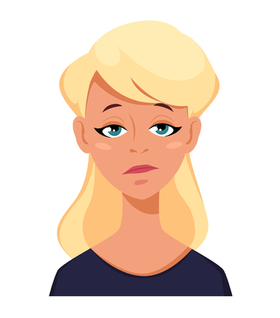Face expression of a blonde woman - tired. Female emotions. Attractive cartoon character. Vector illustration isolated on white background.