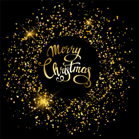 Merry Christmas greeting card, poster, party invitation, banner or flyer on black background with golden sand. Vector Illustration.