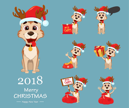 Merry Christmas. Cute dog wearing Santa Claus hat and deer antlers. Set of vector illustrations. Illustration
