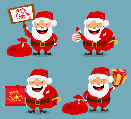 Christmas Santa Claus, funny cartoon character. Smiling Santa holding bag with presents. Set of four vector illustrations.