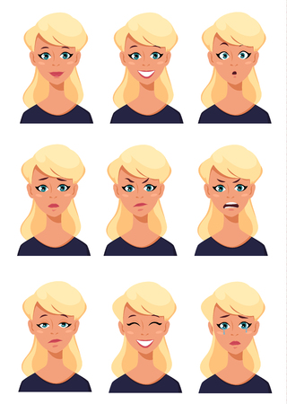 Face expressions of a blonde woman. Different female emotions set. Attractive cartoon character. Vector illustration on white background. Illusztráció