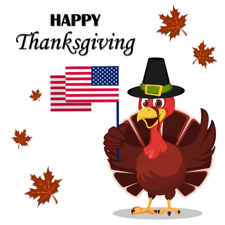 Thanksgiving greeting card with a turkey bird wearing a Pilgrim hat and holding USA flag. Funny cartoon character for holiday. Vector illustration on white background.