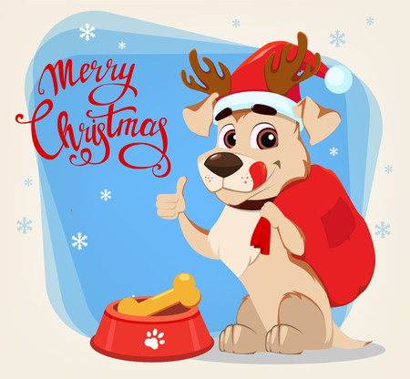 Merry Christmas greeting card. Funny dog wearing Santa Claus hat and deer antlers sitting near bowl with food and showing thumb up sign. Vector illustrations.