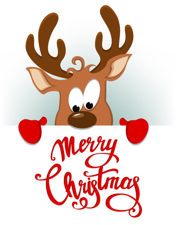Merry Christmas greeting card with funny reindeer hiding behind placard with lettering. Vector illustration on white background Illustration